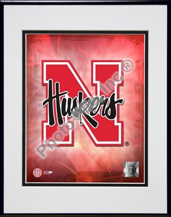 "Nebraska Cornhuskers Logo Double Matted 8"" x 10"" Photograph in Black Anodized Aluminum Frame"