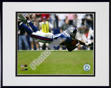 """Tiki Barber """"2005 / 2006 Action"""" Double Matted 8"""" X 10"""" Photograph in Black Anodized Aluminum Frame"""