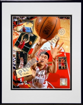 """Yao Ming """"2005 Scrapbook"""" Double Matted 8"""" x 10"""" Photograph in Black Anodized Aluminum Frame"""