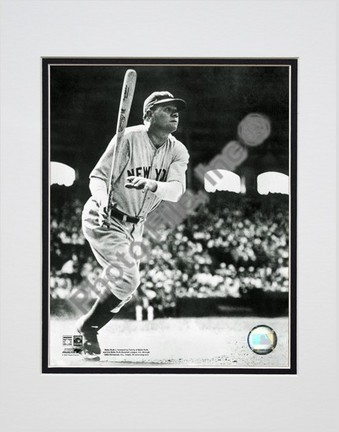"""Babe Ruth """"Batting Action - Starting to Run"""" Double Matted 8"""" x 10"""" Photograph (Unframed)"""