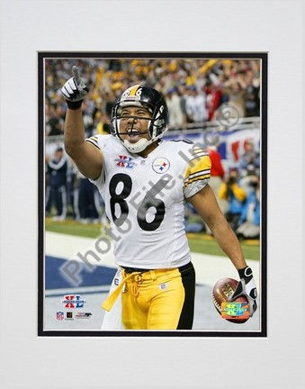 """Hines Ward """"Super Bowl XL Vertical Celebration #11"""" Double Matted 8"""" x 10"""" Photograph (Unframed)"""