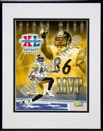 """Hines Ward """"Super Bowl XL MVP (#13)"""" Double Matted 8"""" x 10"""" Photograph in Black Anodized Aluminum Fr"""
