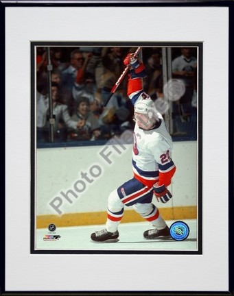 """Mike Bossy """"""""Celebration"""""""" Double Matted 8"""""""" x 10"""""""" Photograph in Black Anodized Aluminum Frame"""" PHF-AAGV040-37"""