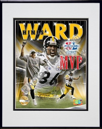"""Hines Ward """"Super Bowl XL MVP Photo File Gold"""" Double Matted 8"""" x 10"""" Photograph in Black Anodized A"""