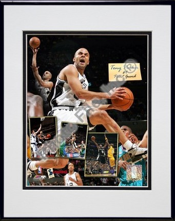 "Tony Parker 2006 """"Scrapbook"""" Double Matted 8"""" x 10"""" Photograph Black Anodized Aluminum Frame"" PHF-AAGW227-37"