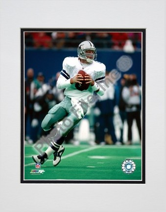 """Troy Aikman """"Dropping Back - Close Up"""" Double Matted 8"""" x 10"""" Photograph (Unframed)"""
