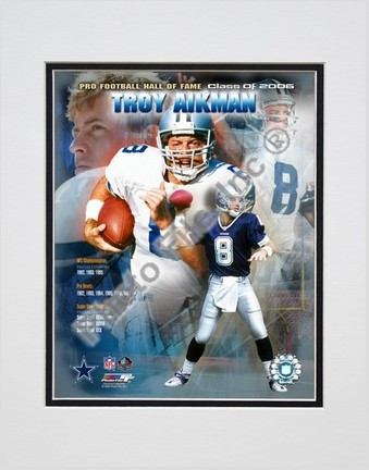 """Troy Aikman """"Hall of Fame Legends #2"""" Double Matted 8"""" x 10"""" Photograph (Unframed)"""