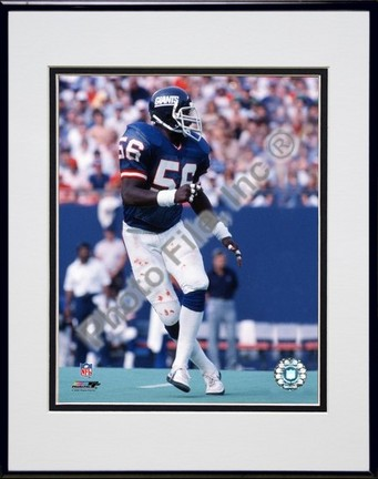 """Lawrence Taylor """"Action"""" Double Matted 8"""" x 10"""" Photograph Black Anodized Aluminum Frame"""