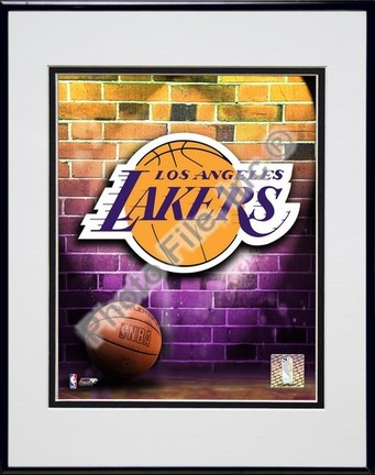"""Los Angeles Lakers """"2006 Logo"""" Double Matted 8"""" X 10"""" Photograph in a Black Anodized Aluminum Frame"""