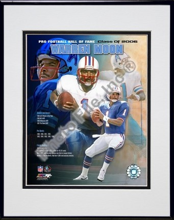 """Warren Moon """"2006 Hall Of Fame Legends Composite"""" Double Matted 8"""" X 10"""" Photograph in a Black Anodi"""
