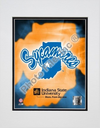 "Indiana State Sycamores Logo Double Matted 8"" X 10"" Photograph (Unframed)"