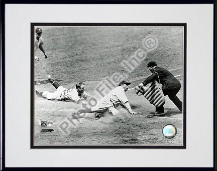 "Babe Ruth ""Sliding Into Home"" Double Matted 8"" X 10"" Photograph in Black Anodized Aluminum Frame"