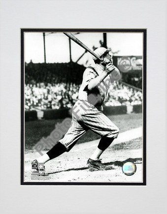 "Babe Ruth ""Batting Action in Pinstripe Hat"" Double Matted 8"" X 10"" Photograph (Unframed)"