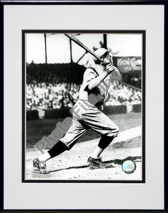 """Babe Ruth """"Batting Action in Pinstripe Hat"""" Double Matted 8"""" X 10"""" Photograph in Black Anodized Alum"""
