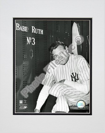 """Babe Ruth """"Farewell Game / Locker Room"""" Double Matted 8"""" X 10"""" Photograph (Unframed)"""