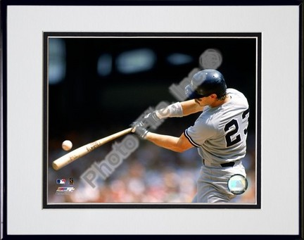 "Don Mattingly ""1990 Batting Action"" Double Matted 8"" x 10"" Photograph in Black Anodized Aluminum Fra"