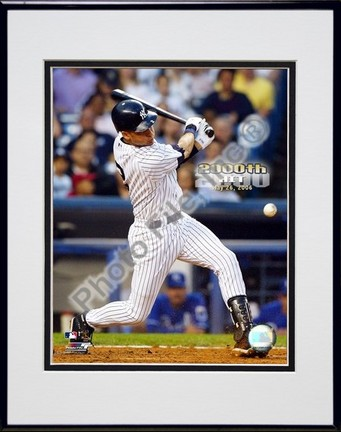 "Derek Jeter ""5/26/2006 2000th Hit with Overlay"" Double Matted 8"" X 10"" Photograph in Black Anodized"