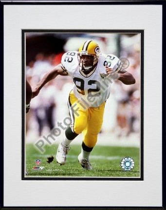 "Reggie White """"Action"""" Double Matted 8� x 10� Photograph in Black Anodized Aluminum Frame"" PHF-AAHC137-37"