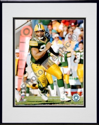 "Reggie White ""Running Action"" Double Matted 8"" x 10"" Photograph in Black Anodized Aluminum Frame"