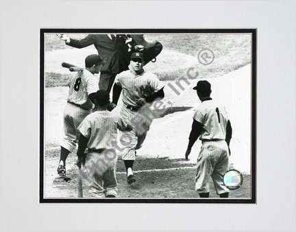 """Mickey Mantle """"Rounding Bases"""" Double Matted 8"""" X 10"""" Photograph (Unframed)"""