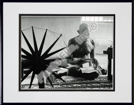 """Mohandas K. Gandhi #15 Double Matted 8"""" X 10"""" Photograph in a Black Anodized Aluminum Frame"""