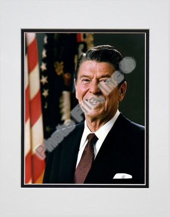 """President Ronald Reagan Official Portrait (#9) Double Matted 8"""" X 10"""" Photograph (Unframed)"""