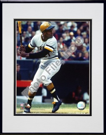 """Roberto Clemente """"1971 Batting Action"""" Double Matted 8"""" X 10"""" Photograph in a Black Anodized Aluminu"""