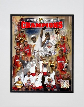 """Miami Heat """"2006 NBA Champions"""" Double Matted 8"""" X 10"""" Photograph (Unframed)"""
