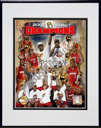 """Miami Heat """"2006 NBA Champions"""" Double Matted 8"""" X 10"""" Photograph in a Black Anodized Aluminum Frame"""