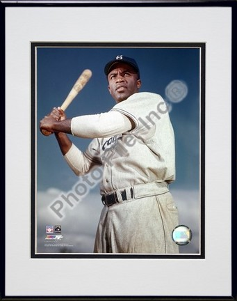 "Jackie Robinson ""1953 Posed Batting"" Double Matted 8"" x 10"" Photograph in a Black Anodized Aluminum"