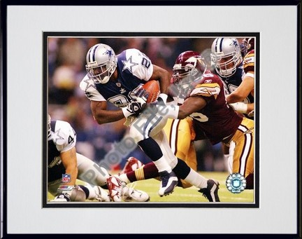 "Emmitt Smith ""2002 Action"" Double Matted 8"" X 10"" Photograph in a Black Anodized Aluminum Frame"