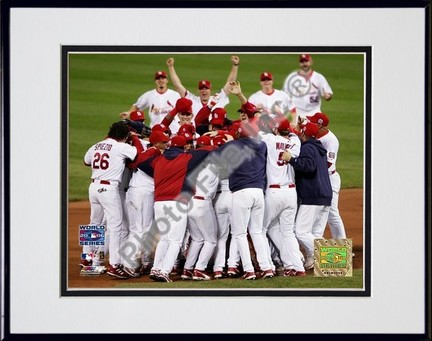 "St. Louis Cardinals ""2006 World Series Team Celebration"" Double Matted 8"" X 10"" Photograph in a Blac"
