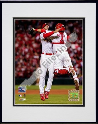 """Adam Wainwright and Yadier Molina """"Game 5 of the 2006 World Series (#24)"""" Double Matted 8"""" X 10"""" Pho"""