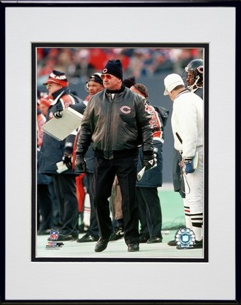 """Mike Ditka """"Coach"""" Double Matted 8"""" x 10"""" Photograph in Black Anodized Aluminum Frame"""