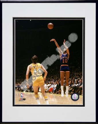 "Walt Frazier ""1971 Action"" Double Matted 8"" x 10"" Photograph in Black Anodized Aluminum Frame"