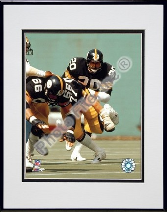 Rocky Bleier Action Double Matted 8 x 10 Photograph in a Black Anodized Aluminum Frame