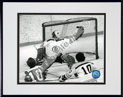 Gerry Cheevers Black and White  Action Double Matted 8 x 10 Photograph in a Black Anodized Aluminum Frame