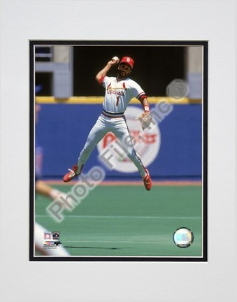 """Ozzie Smith """"1993 Fielding Action"""" Double Matted 8"""" x 10"""" Photograph (Unframed)"""