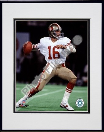 "Joe Montana ""Action"" Double Matted 8"" x 10"" Photograph in Black Anodized Aluminum Frame"