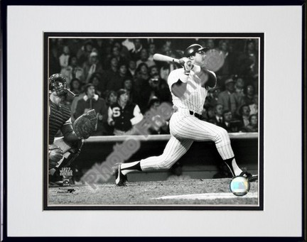 "Reggie Jackson ""Batting Action (1977 World Series)"" Double Matted 8"" x 10"" Photograph in Black Anodi"