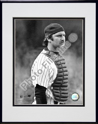 "Thurman Munson ""1978 Catching Action"" Double Matted 8"" x 10"" Photograph in Black Anodized Aluminum F"