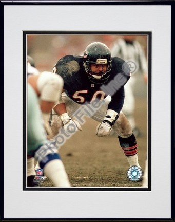 """Mike Singletary"""" Defensive Stance"""" Double Matted 8"""" x 10"""" Photograph in Black Anodized Aluminum Frame"""