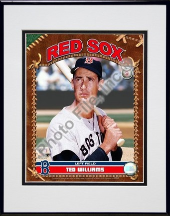 """Ted Williams """"Studio Plus"""" Double Matted 8"""" x 10"""" Photograph in Black Anodized Aluminum Frame"""