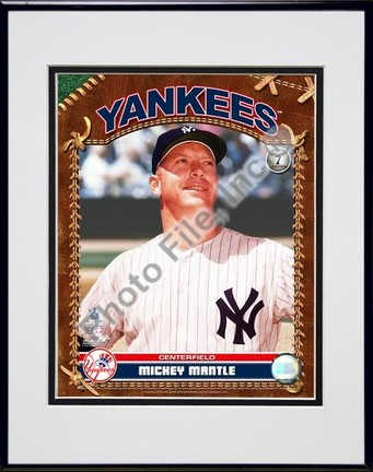 """Mickey Mantle """"Studio Plus"""" Double Matted 8"""" x 10"""" Photograph in Black Anodized Aluminum Frame"""