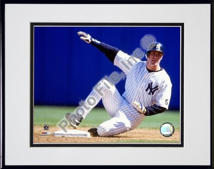 """Paul O'Neill """"1999 Sliding Action"""" Double Matted 8"""" x 10"""" Photograph in Black Anodized Aluminum Fram"""