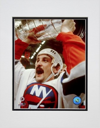 "Bryan Trottier """"Holding Stanley Cup"""" Double Matted 8� x 10� Photograph (Unframed)"" PHF-AAIB195-33"