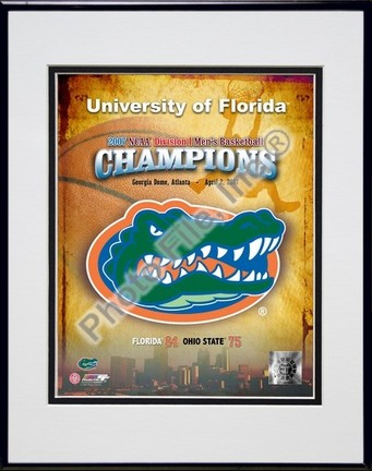 "Florida Gators ""Logo 2007 Champions"" Double Matted 8"" x 10"" Photograph in Black Anodized Aluminum Fr"