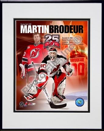 "Martin Brodeur ""48 Wins / Portrait Plus"" Double Matted 8"" x 10"" Photograph in Black Anodized Aluminu"