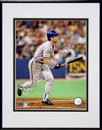 "Paul Molitor ""Batting Action"" Double Matted 8"" x 10"" Photograph in Black Anodized Aluminum Frame"