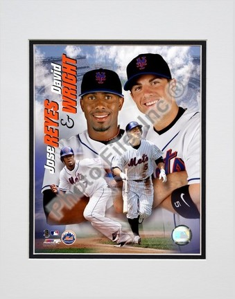 """Jose Reyes and Dave Wright """"2007 Portait Plus"""" Double Matted 8"""" x 10"""" Photograph (Unframed)"""